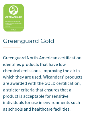 Greenguard North-American certification identifies products that have low chemical emissions, improving the air in which they are used. Wicanders flooring products are awarded with the GOLD certification, a stricter criteria that ensures that a product is acceptable for sensitive individuals for use in environments such as schools and healthcare facilities.